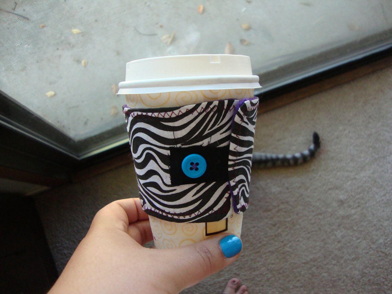 Zebra Print Coffee Cozy by shandab3ar on Etsy. $3.00, via Etsy.