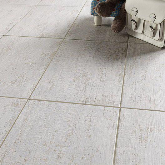 Carrelage sol et mur blanc effet bois Cuba l30 x L604 cm salle