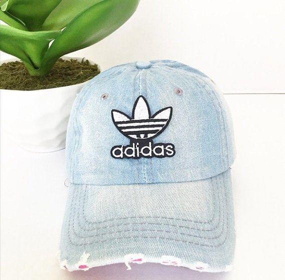 Vintage Adidas Denim Baseball Cap Baseball Hat by TripleOGco  d7be7c097fe
