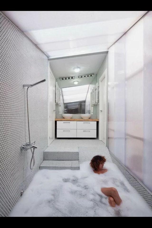 E Age Bathroom Sunken Bathtub Tub Minimal