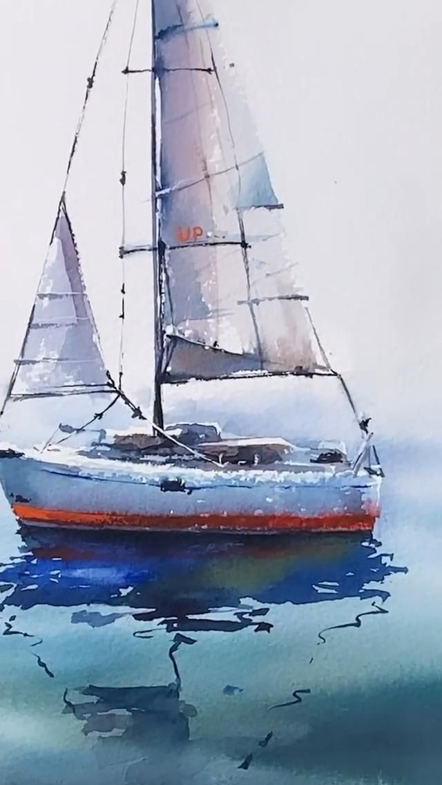 Boat watercolor painting sailboats | Watercolor scenery landscape paintings
