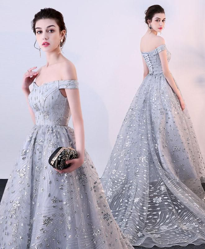 Tony Ward La Mariée Fall 2018 Wedding Dresses: Elegant Gray Tulle Long Prom Dress, Off Shoulder Evening
