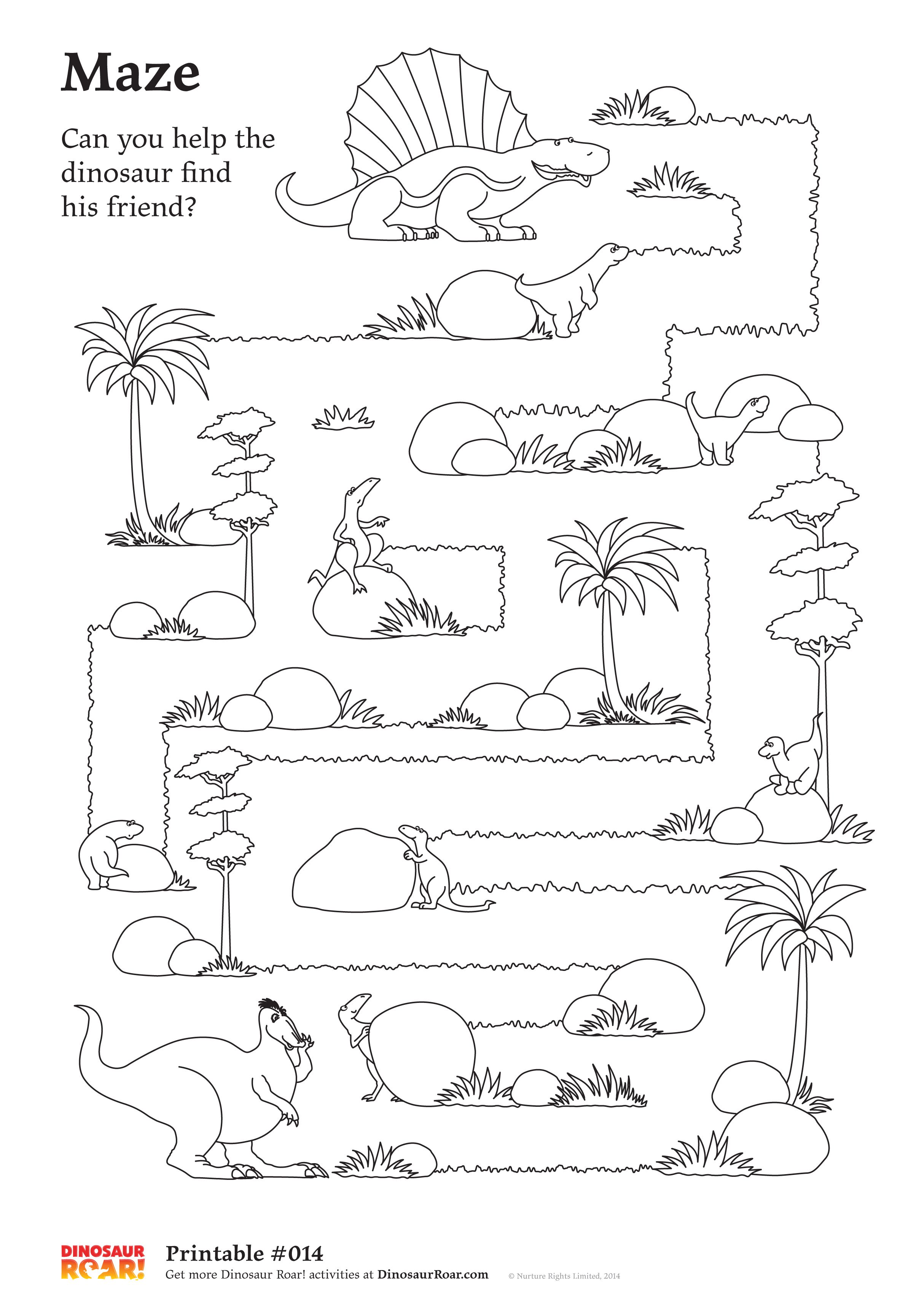 Dinosaur Maze Printable Activity Sheet Can You Help The