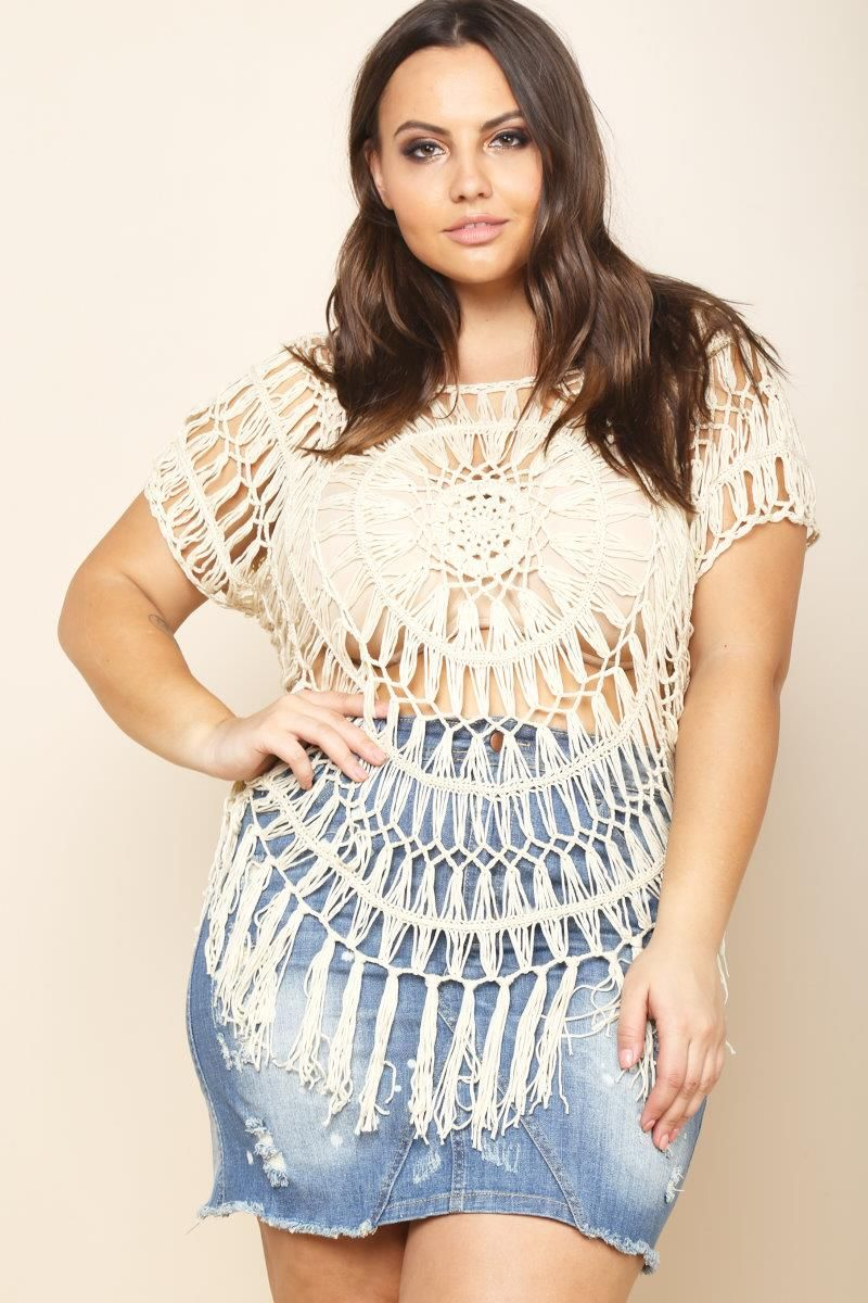 Plus size fringed crochet sheer tshirt my style pinterest