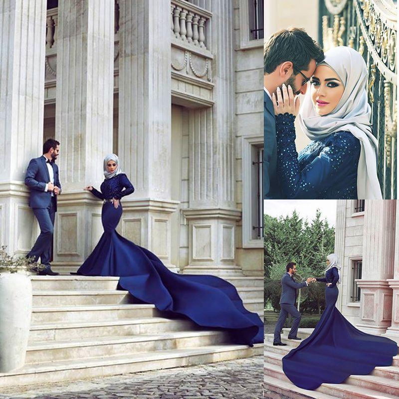 Arab Designers Wedding Dresses Dubai Saudi Arabia Abaya Long Sleeve Beaded Mermaid Royal Blue Indian Muslim