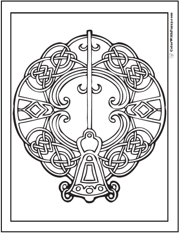 Key Celtic Coloring Page Bell Shaped Key