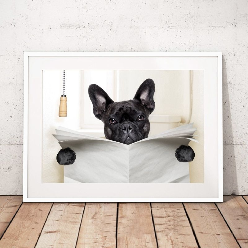 Buy dog reading newspaper toilet wall art canvas poster