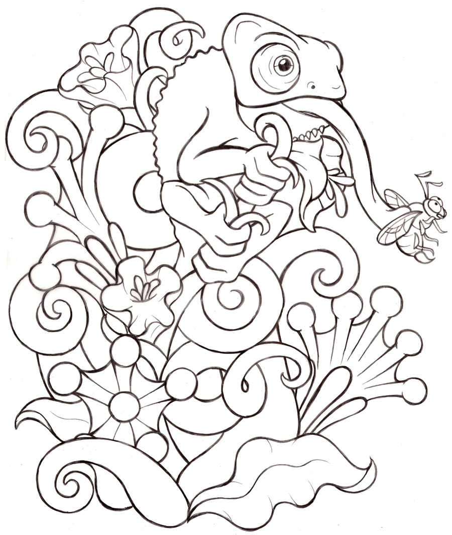 Chameleon Arts Tattoo Flash: Cartoon Baby Veiled Chameleon Tattoo + Background By