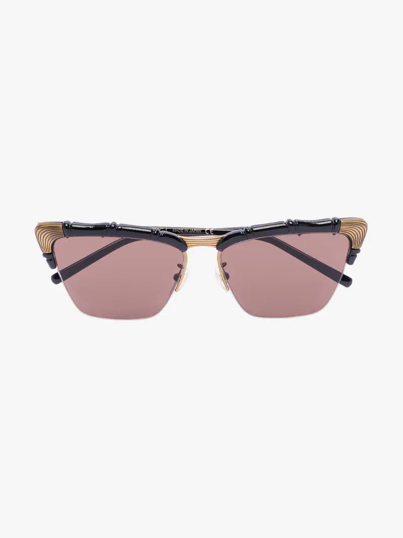 Gucci Eyewear black tinted cat eye bamboo sunglassess | Browns
