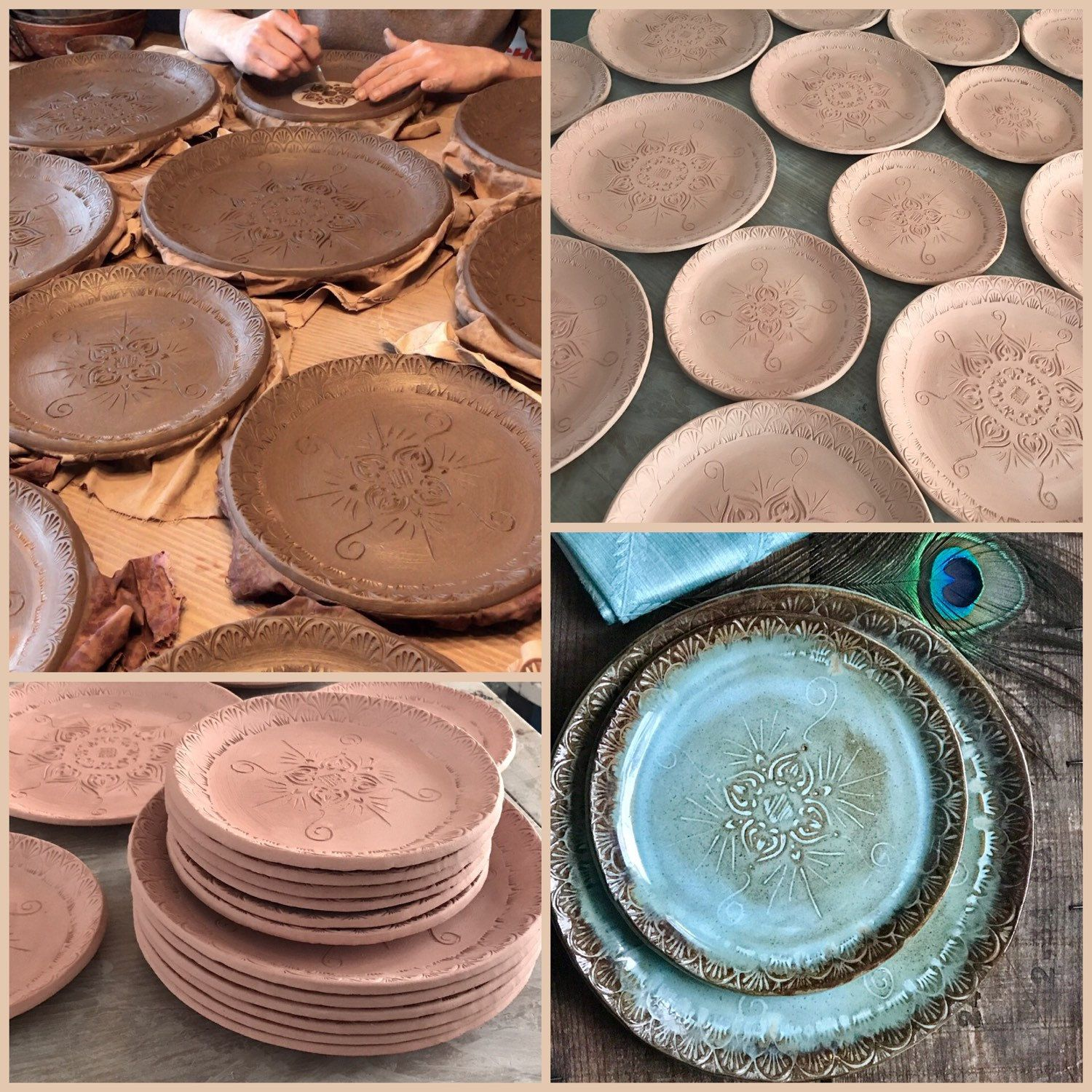 Custom made dinnerware unique to you. How does it work? You decide the pattern/colors you like from my shop and convo me. I hand create your dinnerware set ... & Native Mandala Dinnerware Plate Set ~ Turquoise \u0026 Brown ~ Bohemian ...