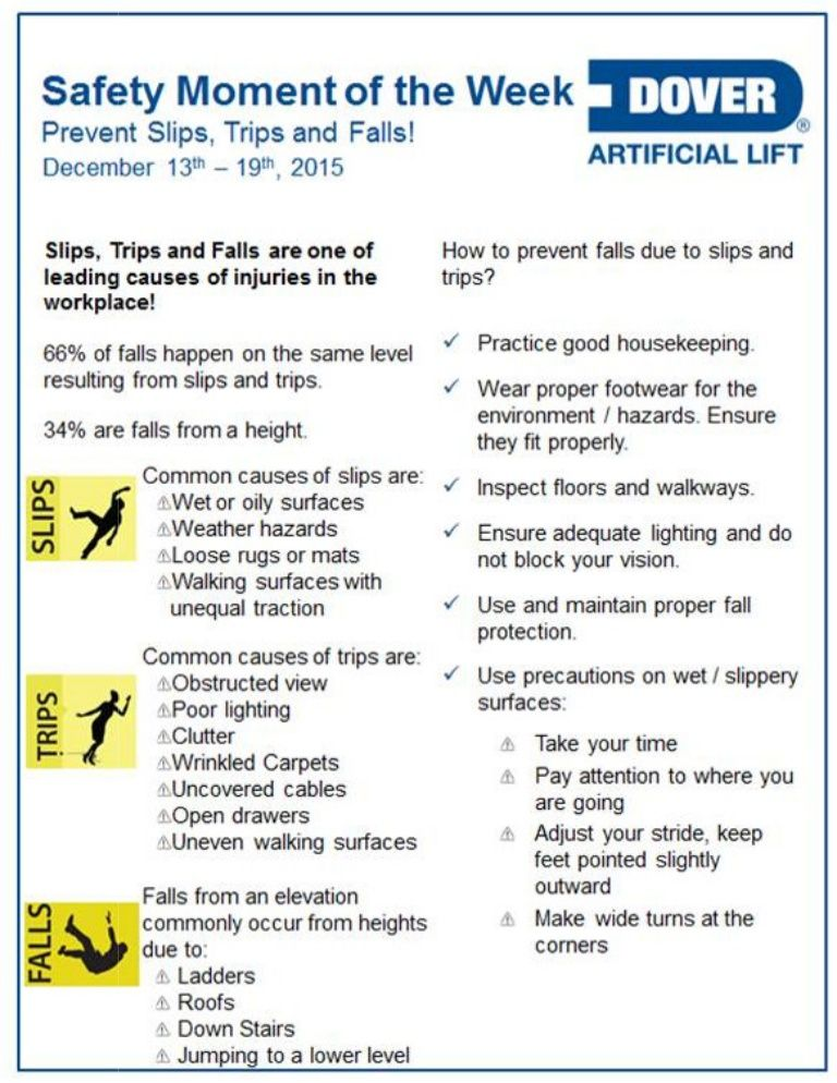 Prevent Slips, Trips and Falls. AlbertaOilTool's Safety