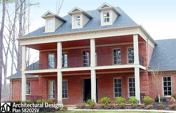 Plan 58202sv Southern Beauty With Double Decker Porch House Plans Gorgeous Houses How To Plan