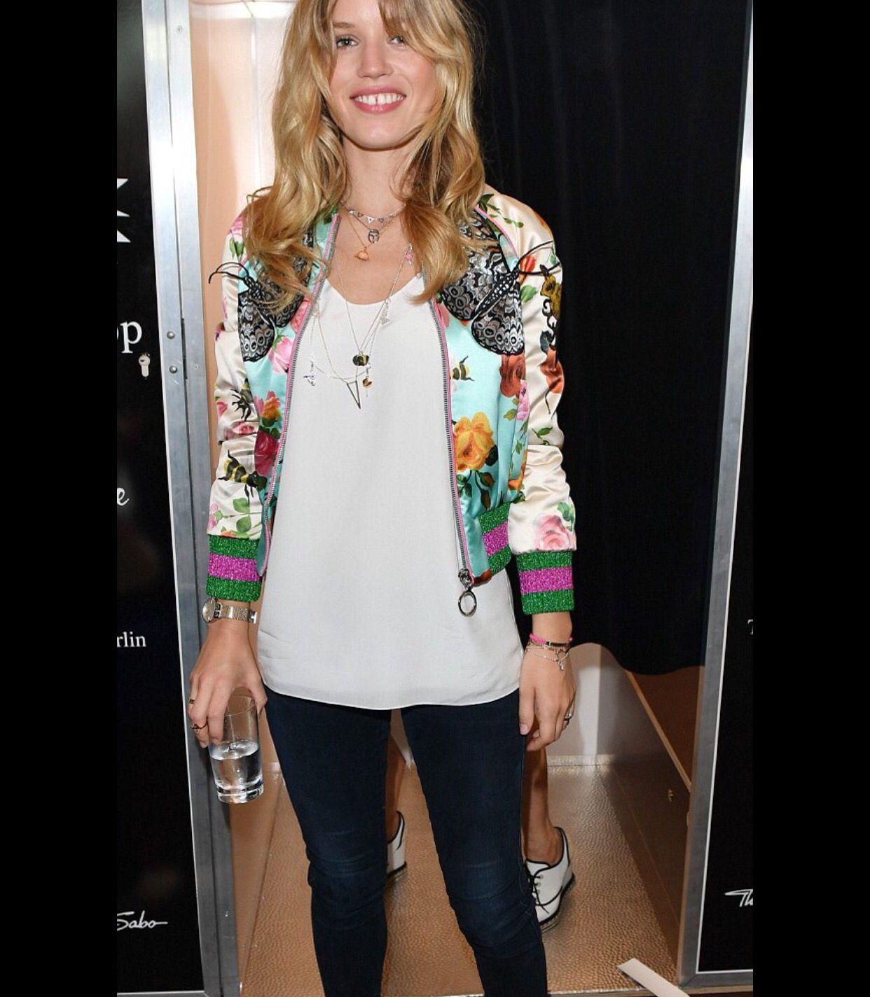 Georgia May Jagger in Gucci bomber jacket