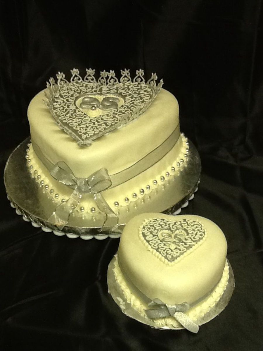 25 Th Silver Anniversary Used Royal Icing Painted Silver To Stand Up ...