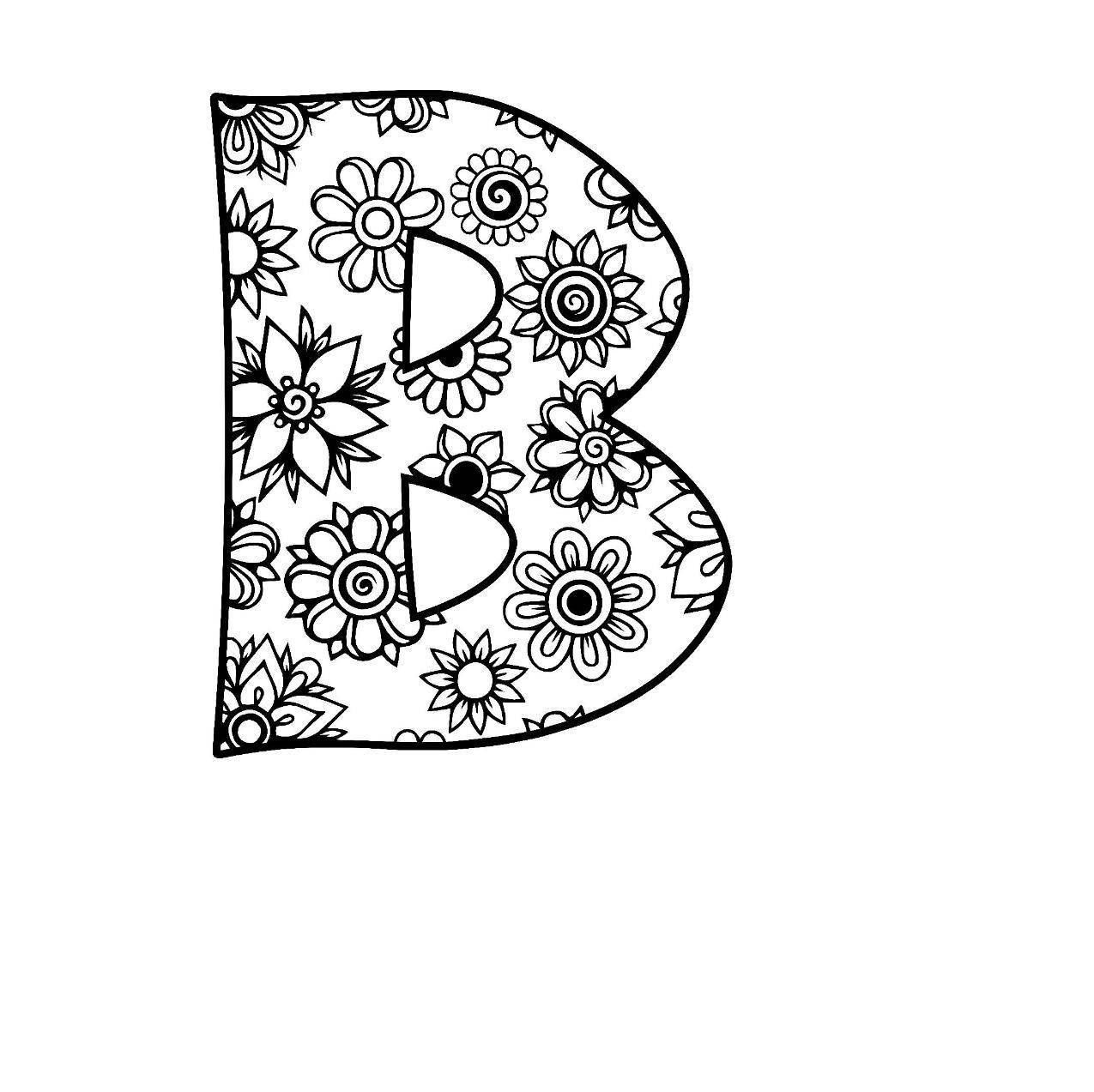 Letter B Alphabet Flowers Svg Jpeg Png Pdf Use With Silhouette Studio And Cricut Desig Bee Coloring Pages Disney Coloring Sheets Dinosaur Coloring Pages