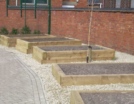 St Gregory S School Raised Beds With New Railway Sleepers