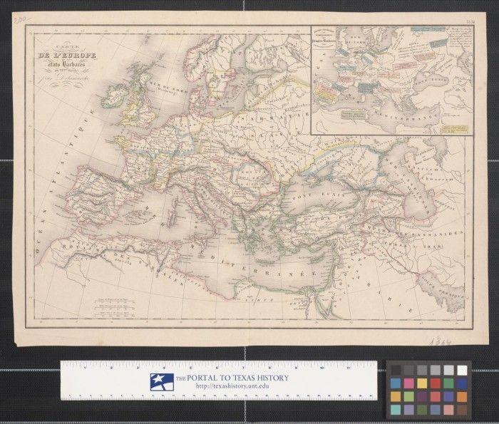 SARMATIA =Slavie , LECKHES=Poleniens (Polonias)_Carte de L'Europe et des états Barbares au VIème ...