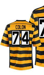2a6d1007 $78.00--Men's Nike Pittsburgh Steelers #74 Willie Colon Elite Yellow Black  Alternate 80TH Anniversary Throwback NFL Jersey,Free Shipping!