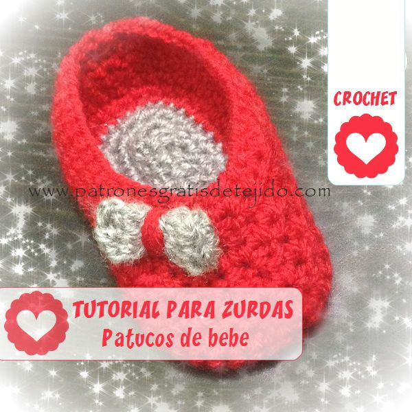Patucos crochet con tutorial para zurdas | Zapatos, zapatillas ...