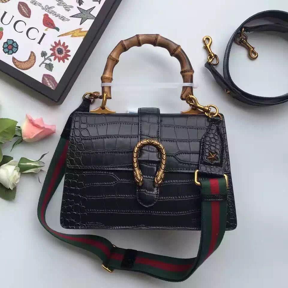 b51f73dc15 Gucci Dionysus Bamboo Croco Pattern Leather Top Handle Medium Bag 448075  Black 2016