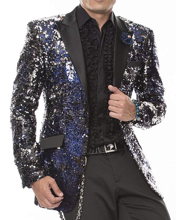 4d231bf6 Angelino men's sequins blazer with black satin lapel and pocket flaps. Two  front single buttons, double vent, and four kissing sleeve buttons.