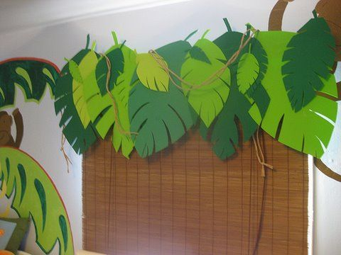 Themed Jungle Leaf Classroom Curtains | Window Treatment With Shades And  Leaves For Jungle Themed Bedroom
