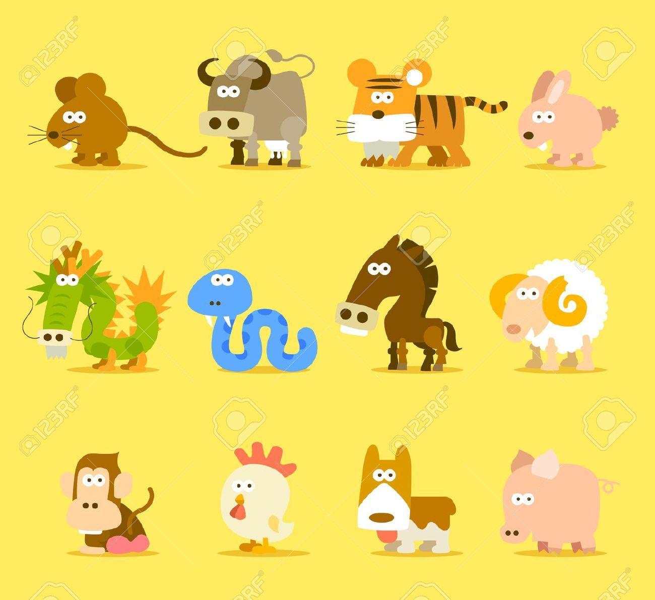 Chinese Zodiac Cartoon Animals Google Search Animal Icon Baby Art Chinese Zodiac