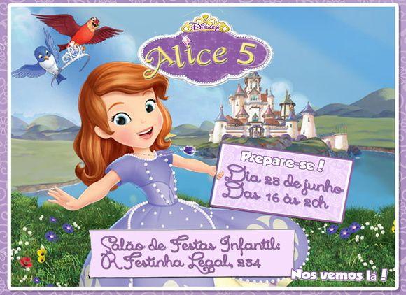Convite Virtual Princesa Sofia Digital Com Imagens Convite