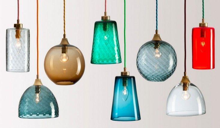 RothschildBickersPickNMixColoredGlassPendantsRemodelista - Colored glass pendant lights for kitchen island