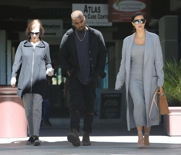 Kim, Kanye and MJ leaving More Than Waffles in Encino, CA