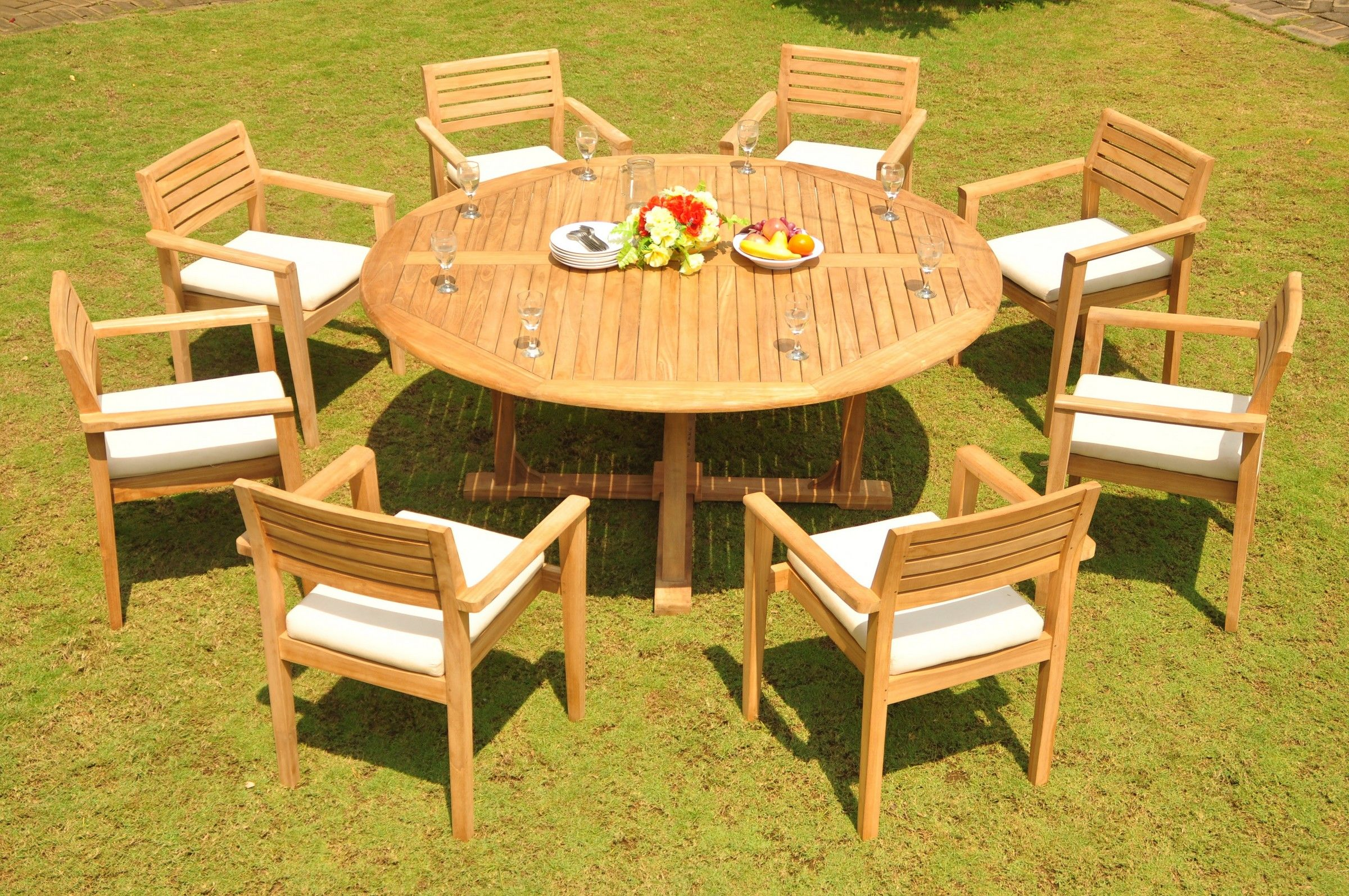 Teak Dining Set 8 Seater 9 Pc 72 U0026quot Round Dining Table And In 2020 Metal Outdoor Furniture Outdoor Furniture Sets Round Dining Table