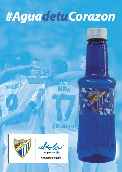 MálagaCF y Alzola Basque Water colaboran para salvaguardar equipo y afición repartiendo salud en Málaga, con el Aguadetucorazon