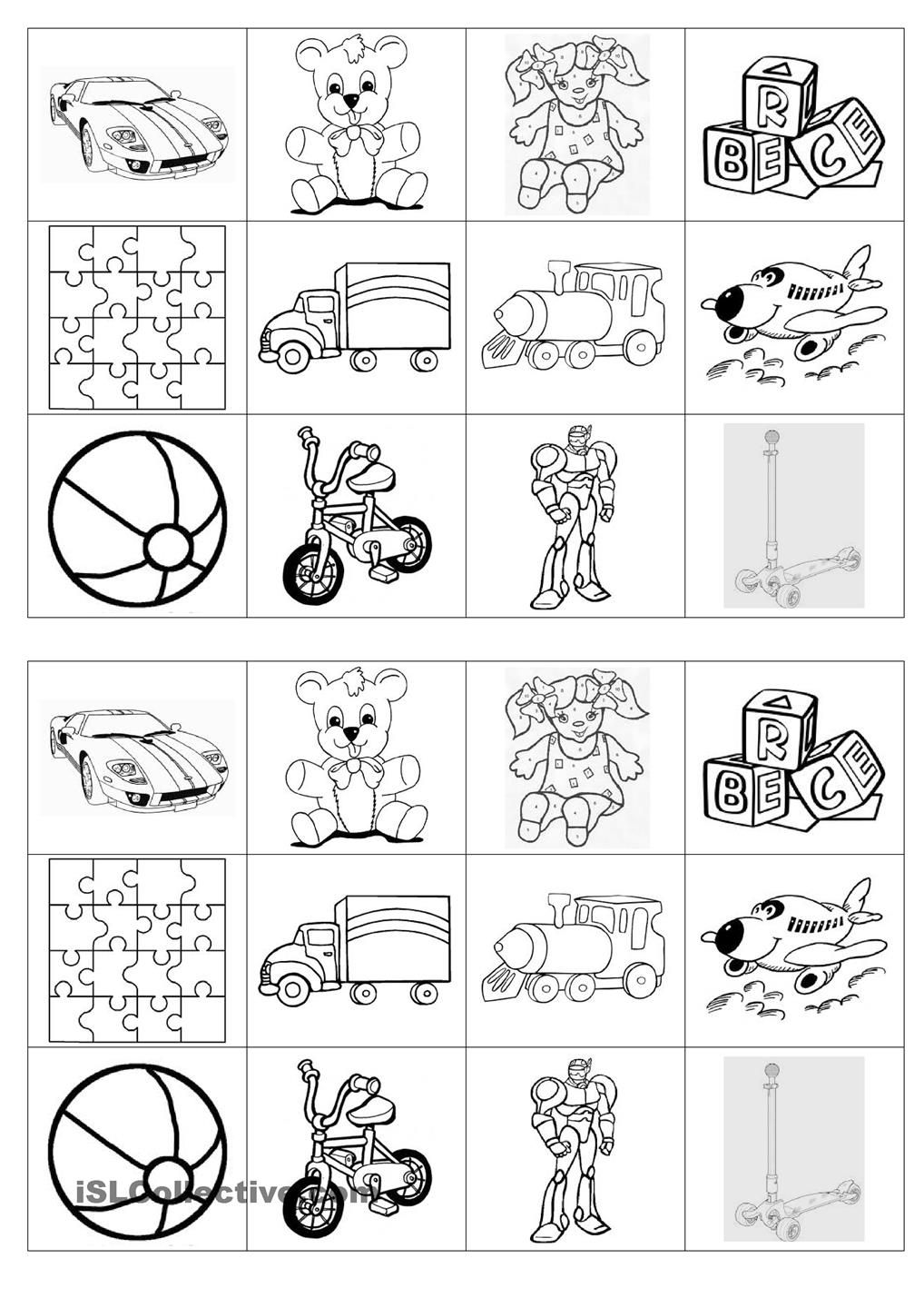 Memory game on toys  Memory exercises, Worksheets for kids