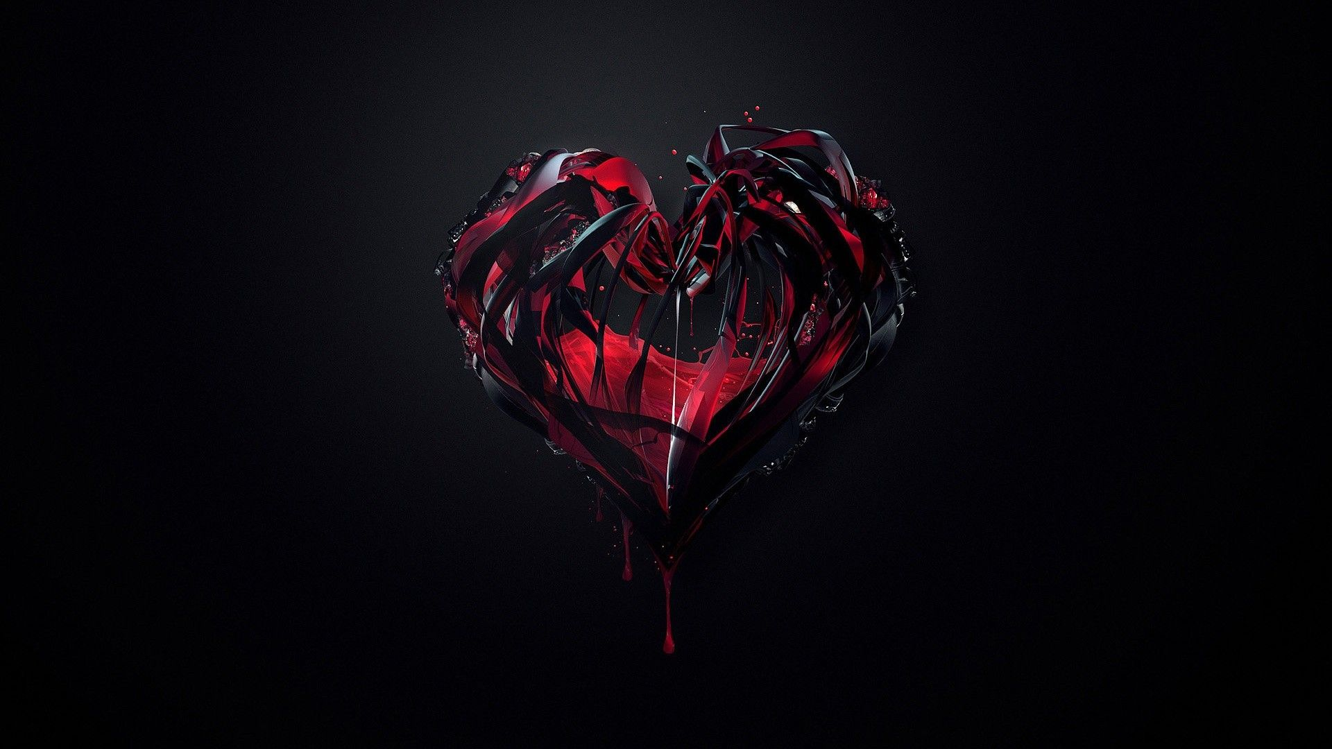 Red Heart With Black Background