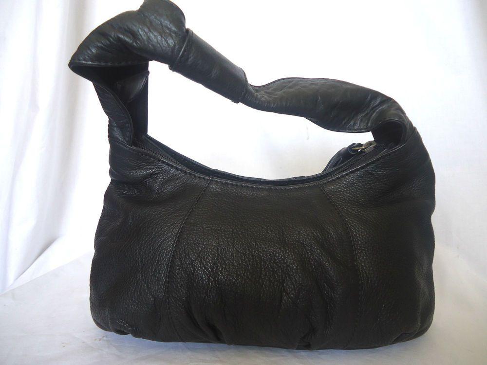 Osprey London By Graeme Ellisdon Black Leather Slouchy Hobo Grab Evening Bag