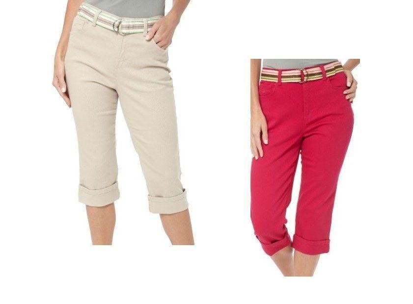 Size 8 Gloria Vanderbilt Amanda Classic Cotton Stretch Cuffed Capri Jean Pants