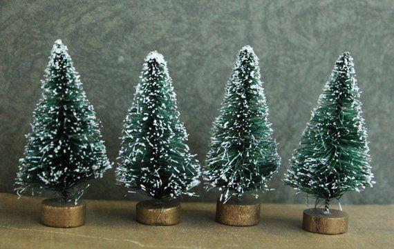 6 Green Bottle Brush Trees - 2-1/2 inch Vintage Style Bottlebrush