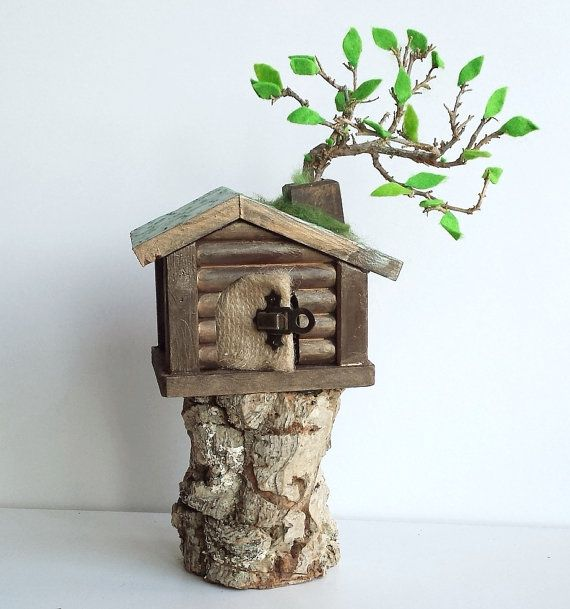 Miniature Tree House wooden goblin house miniature - tree house - fairy house forest