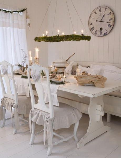 """Love The Little Bows On Back Of Chairs And Hanging """"candle Classy Shabby Chic Dining Room Decor Review"""