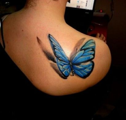 coole tattoos 3d schmetterling tattoo blau r cken. Black Bedroom Furniture Sets. Home Design Ideas