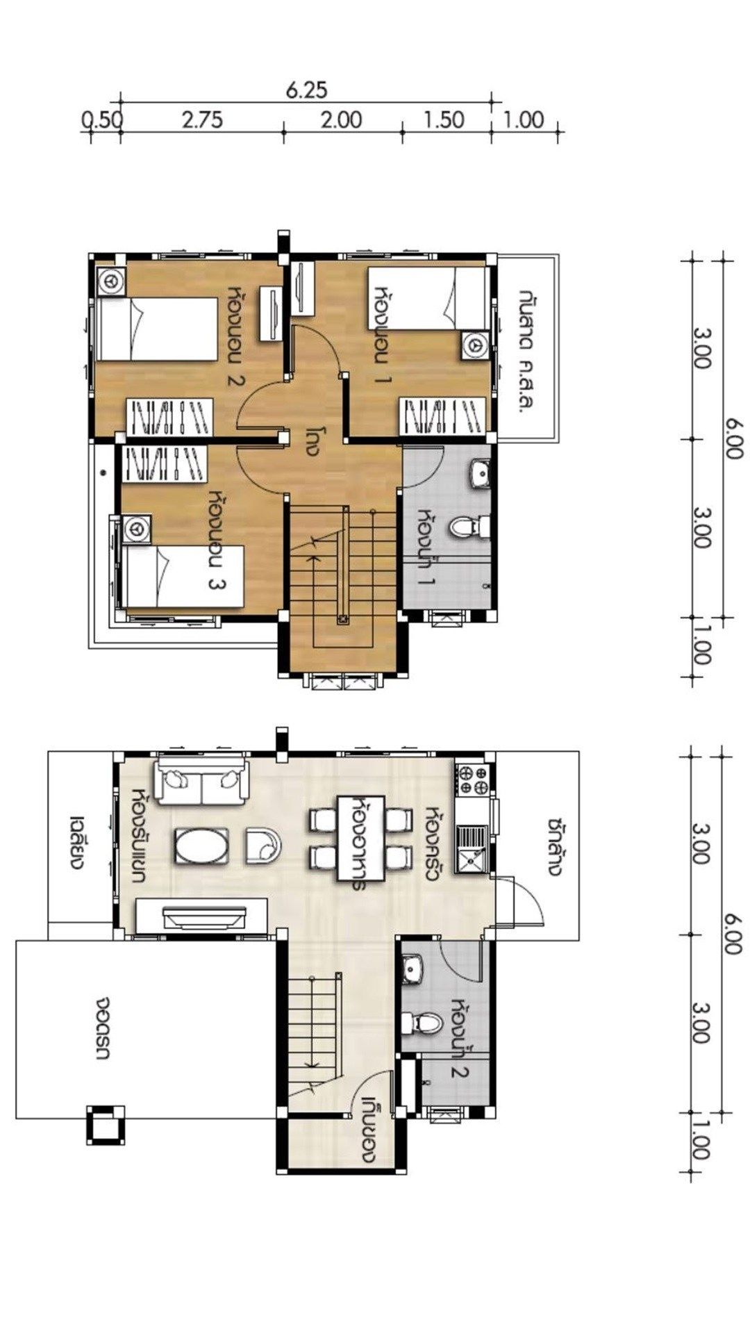 Small House Plan 6x6 25m With 3 Bedrooms Home Ideas Small House Design Plans Small House Design Unique House Plans