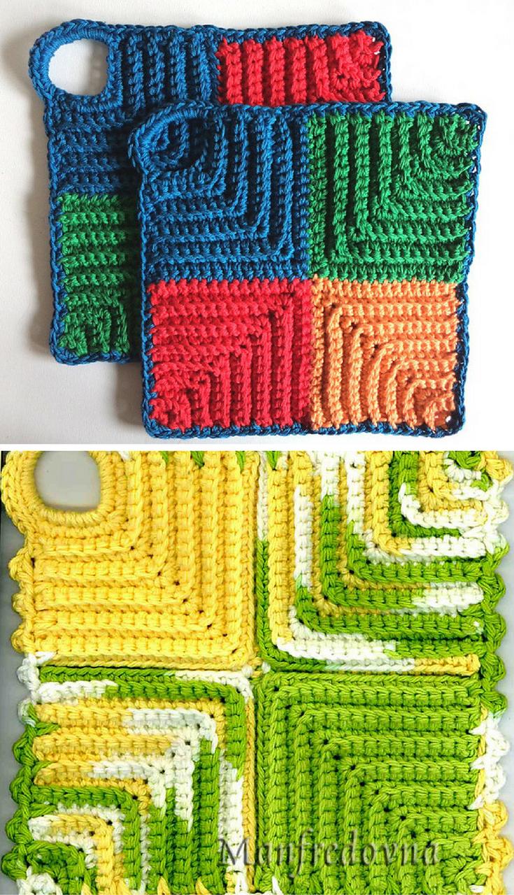 Free Crochet Pattern] Four Little Squares Potholder | Needlework ...