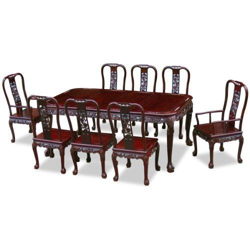 80in Rosewood Dining Table With 8 Chairs Queen Anne