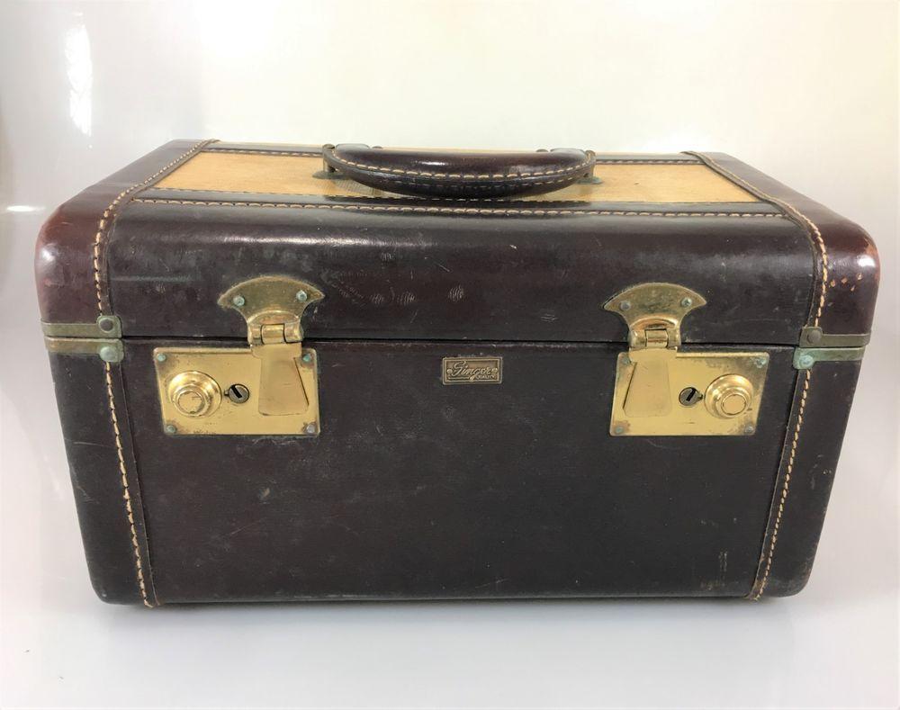 3d8da5b53404 Singer Quality Vintage Brown Train Case Mirror Suitcase Luggage 30s Vintage  Prop