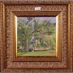 Lot 548-Owen Bowen ROI PRCamA Original oil on board Signed View In The Garden c1920