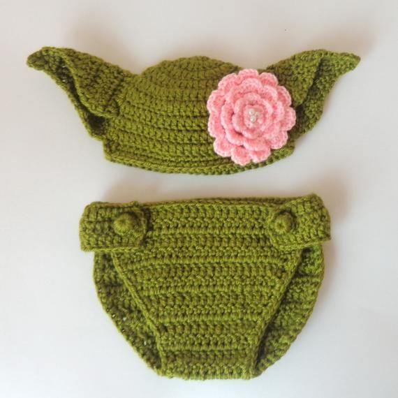 Master Yoda Baby Hat and Diaper Cover From Star Wars For Girl - Premie, Newborn Photo Prop / Halloween / Cosplay / Christmas gift #premiebabyhats Master Yoda Baby Hat and Diaper Cover From Star Wars For Girl - Premie, Newborn  Photo Prop / Hallow #premiebabyhats