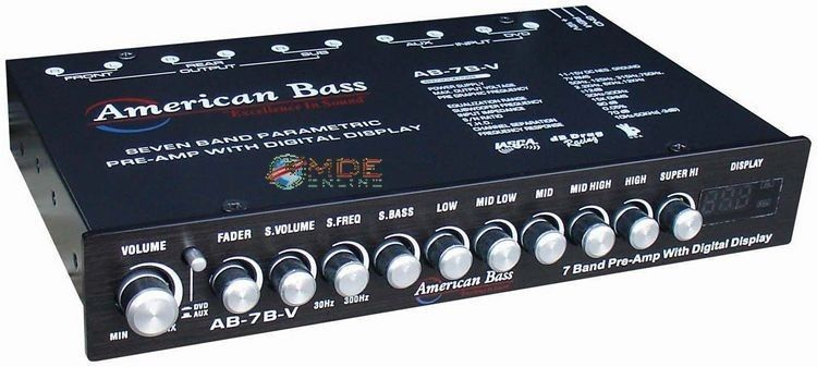 American Bass Ab 7bv 7 Band Parametric Pre Amp Equalizer Digital Voltage Display American Bass Bass Band