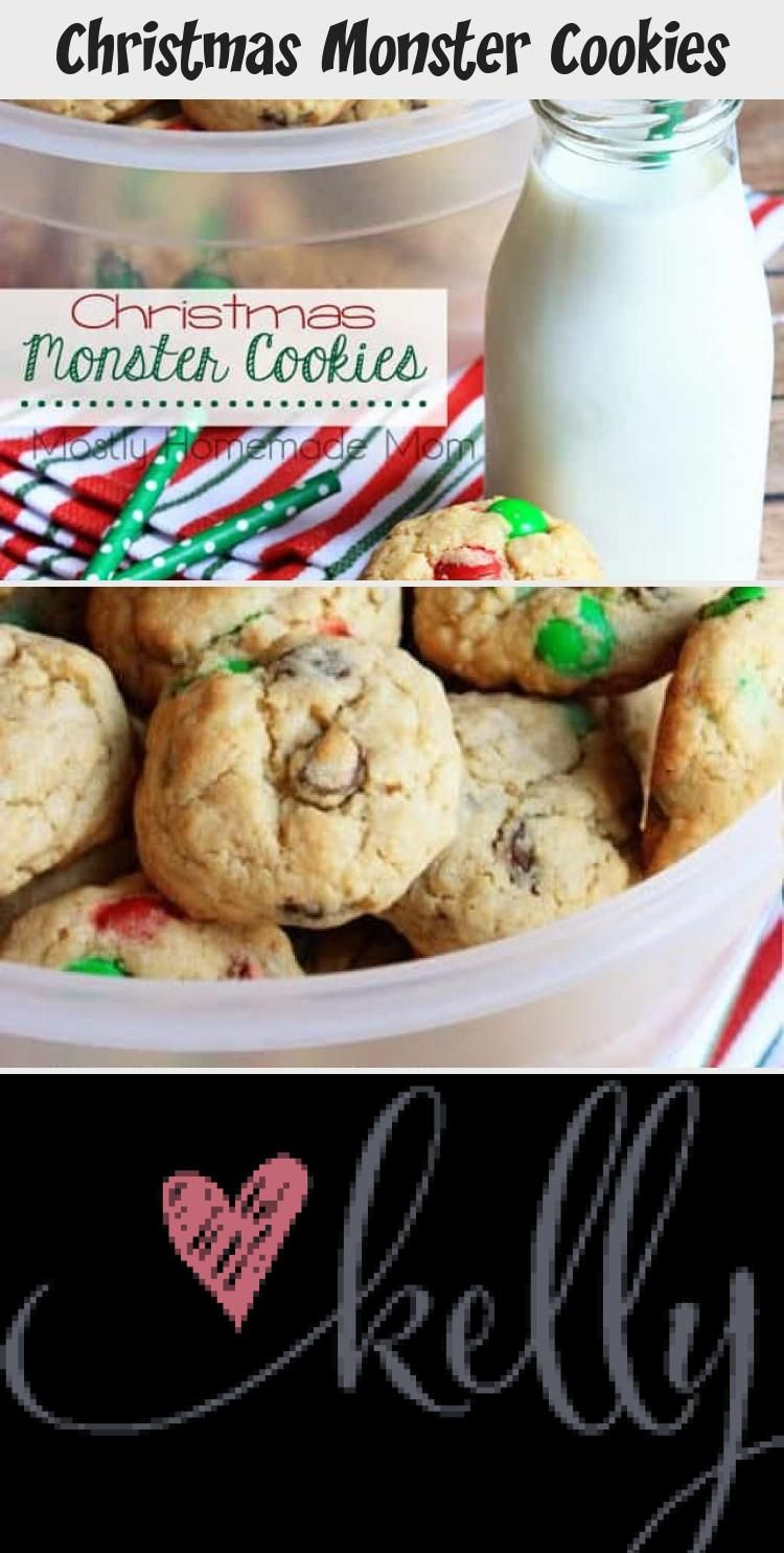 Photo of Christmas Monster Cookies – peanut butter cookie mix, sugar cookie mix, oats, an…