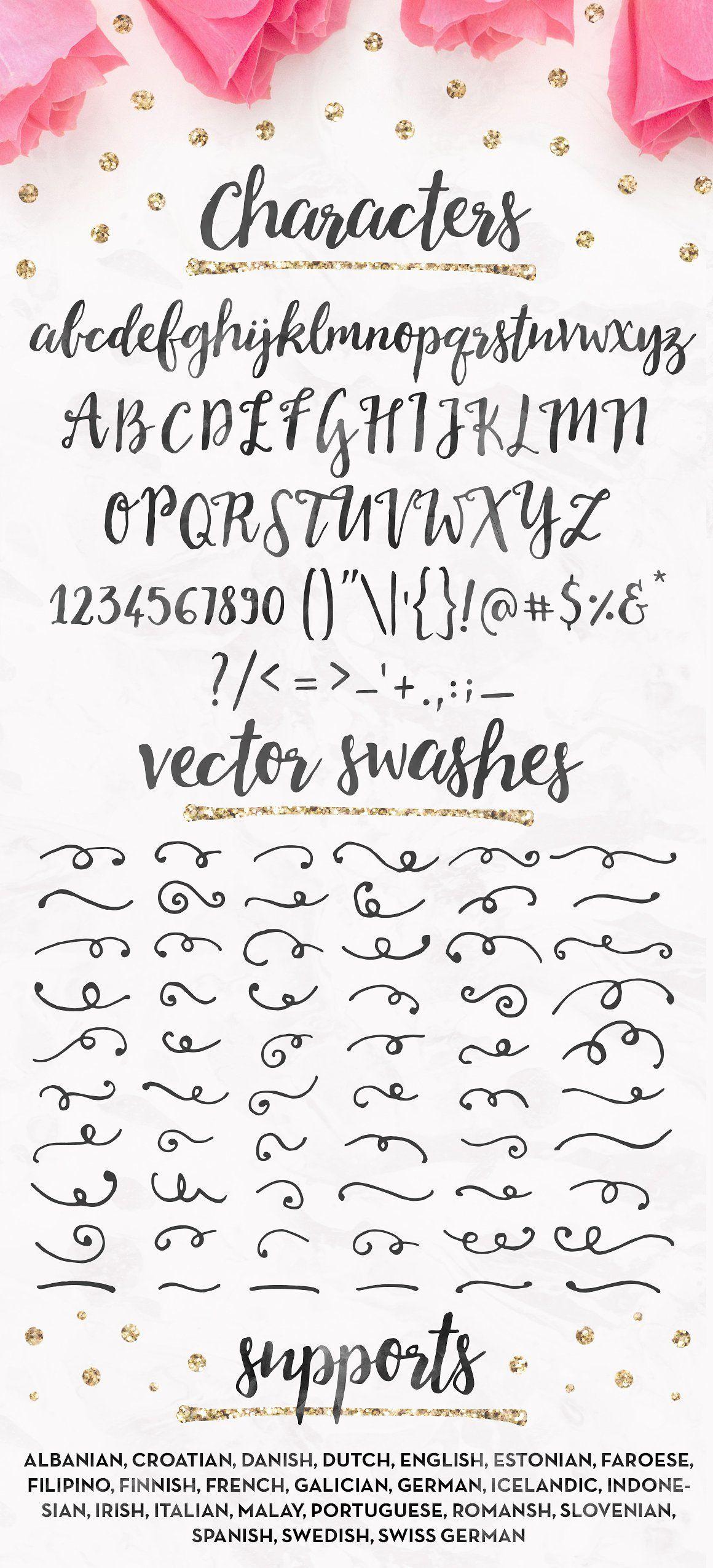Soulmates Script Font Gold Foils Amp Watercolors By Pink
