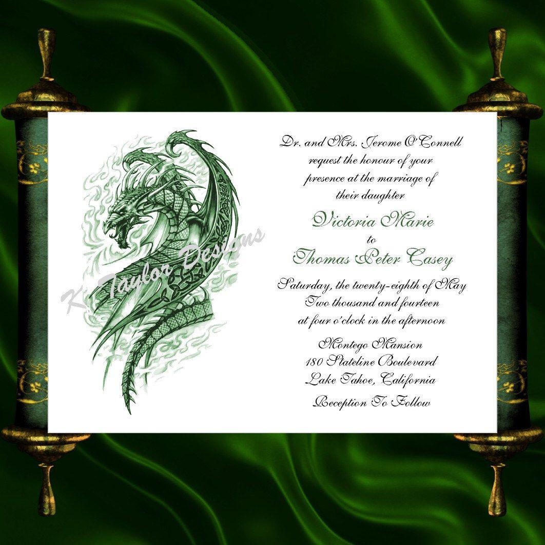Dragon Invitation Rsvp Celtic Dragon Wedding Invitation Irish